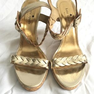 Kate Spade Cork Wedge Sandals Women's 8.5 Gold